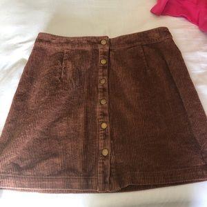 Tobi button down corduroy skirt